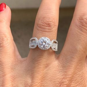 1CT Round Sterling Silver Engagement Ring